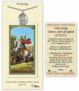 Saint George Pendant and Holy Prayer Card Gift Set by Bliss