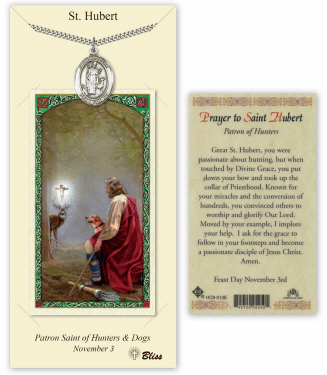 Saint Hubert of Liege Pendant and Holy Prayer Card Gift Set by Bliss