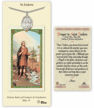 Saint Isidore the Farmer Pendant and Holy Prayer Card Gift Set by Bliss