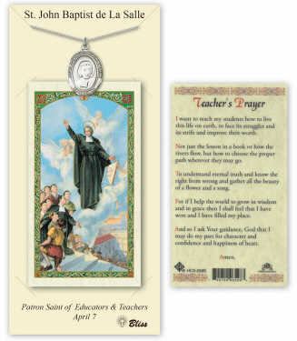 Saint John Baptist de la Salle Pendant and Holy Prayer Card Gift Set by Bliss
