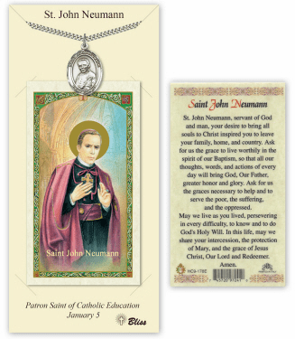 Saint John Neumann Pendant and Holy Prayer Card Gift Set by Bliss