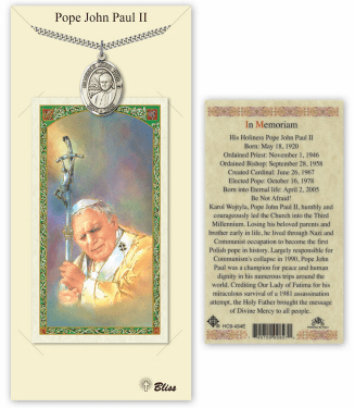 Saint John Paul II Pendant and Holy Prayer Card Gift Set by Bliss