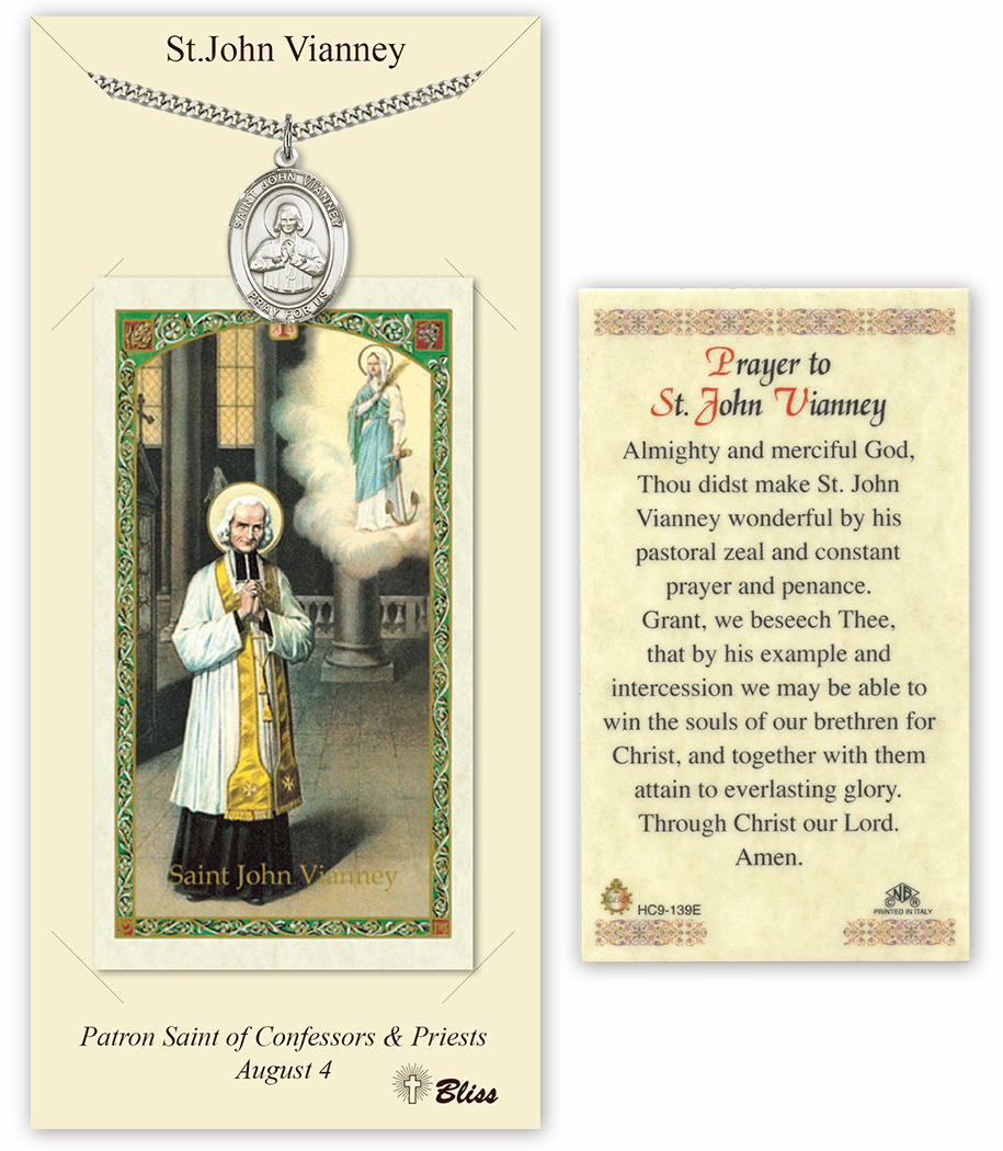 Saint John Vianney Pendant and Holy Prayer Card Gift Set by Bliss