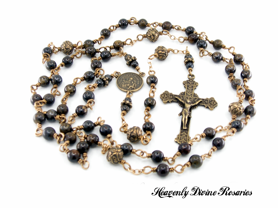Saint Joseph Bronzite Wire-Wrapped Bronze Rosary by Heavenly Divine Rosaries