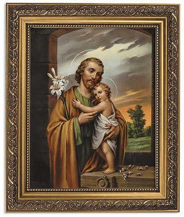 Saint Joseph Framed Print Picture with Gold Frame by Gerffert