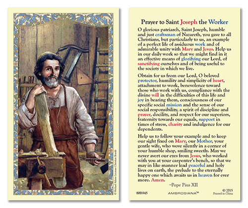 Saint Joseph, Patron of Workers Laminated Gerffert 25pkg Holy Cards