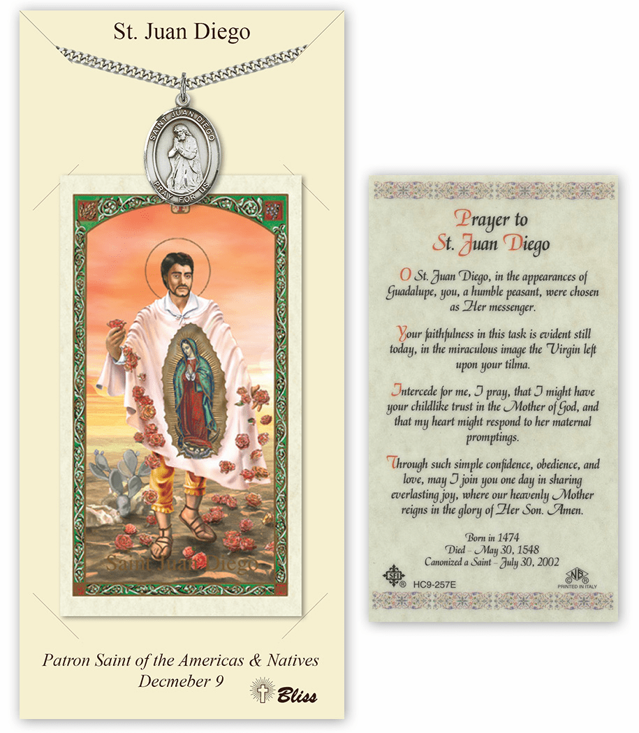 Saint Juan Diego Pendant and Holy Prayer Card Gift Set by Bliss