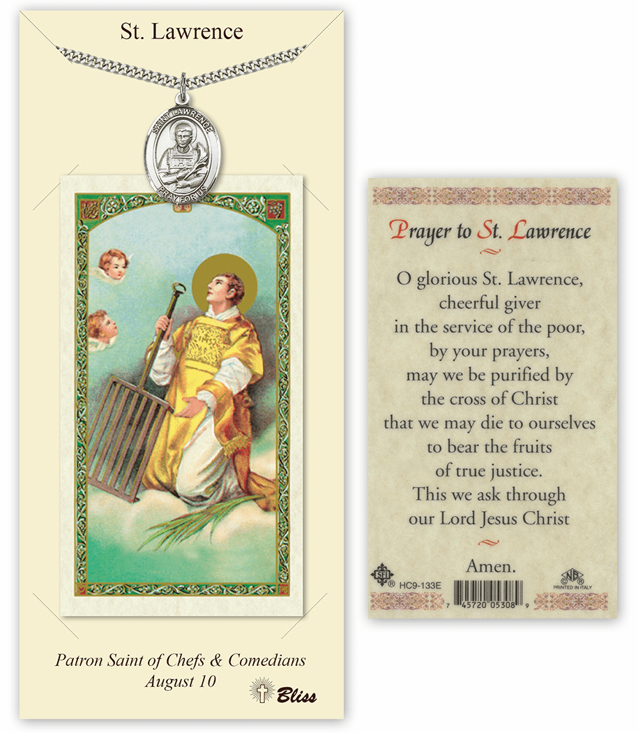 Saint Lawrence Pendant and Holy Prayer Card Gift Set by Bliss