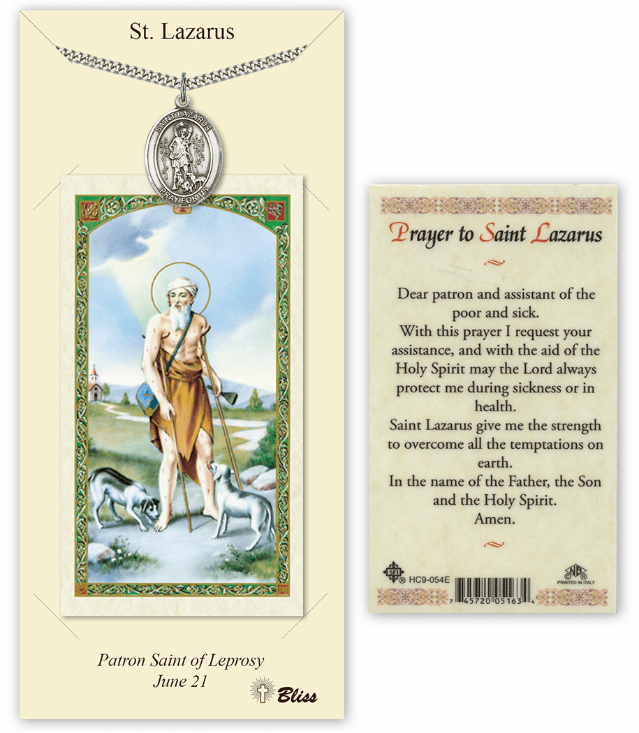 Saint Lazarus Pendant and Holy Prayer Card Gift Set by Bliss