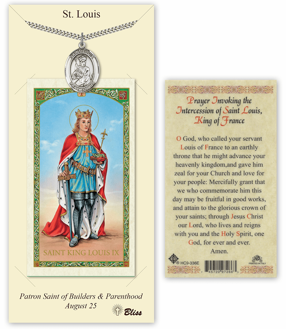 Saint Louis King of France Pendant and Holy Prayer Card Gift Set by Bliss