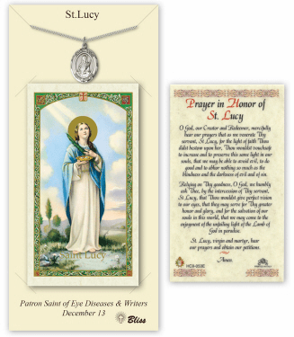 Saint Lucy Pendant and Holy Prayer Card Gift Set by Bliss