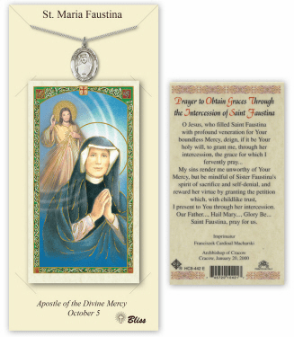 Saint Maria Faustina Pendant and Holy Prayer Card Gift Set by Bliss
