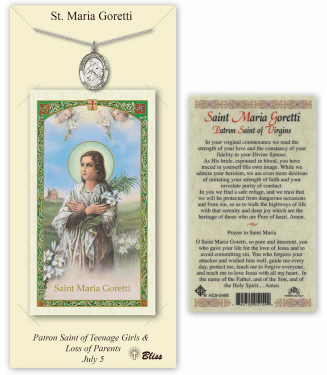 Saint Maria Goretti Pendant and Holy Prayer Card Gift Set by Bliss
