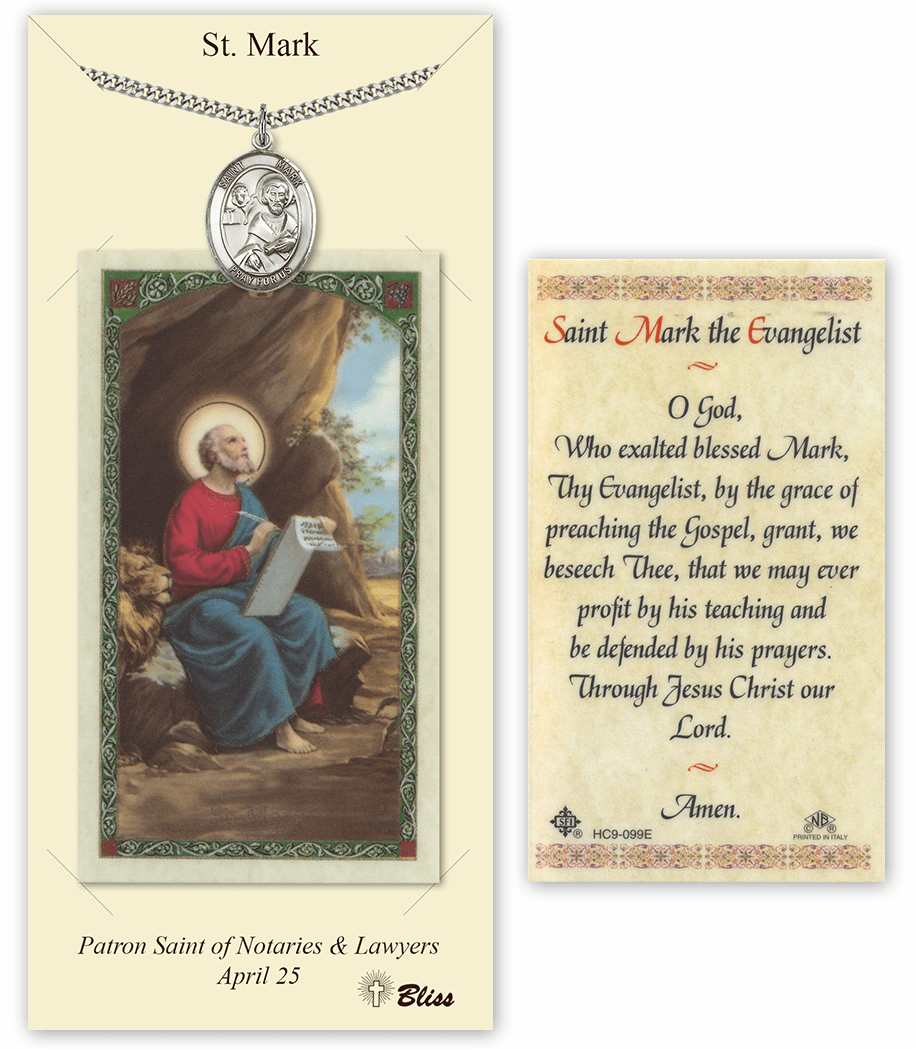 Saint Mark the Evangelist Pendant and Holy Prayer Card Gift Set by Bliss