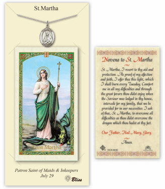 Saint Martha Pendant and Holy Prayer Card Gift Set by Bliss