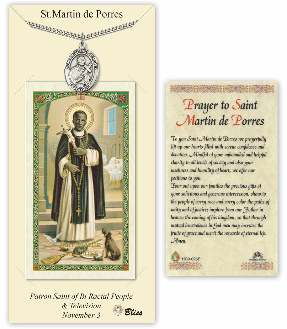 Saint Martin de Porres Pendant and Holy Prayer Card Gift Set by Bliss