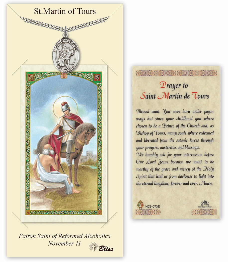 Saint Martin of Tours Pendant and Holy Prayer Card Gift Set by Bliss