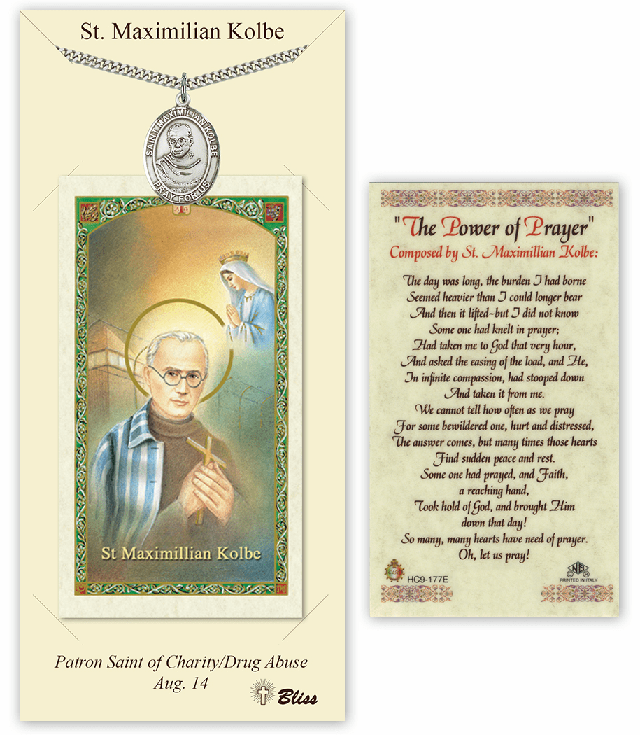 Saint Maximilian Kolbe Pendant and Holy Prayer Card Gift Set by Bliss