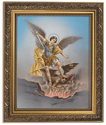 Saint Michael Archangel Framed Print Picture with Gold Frame by Gerffert