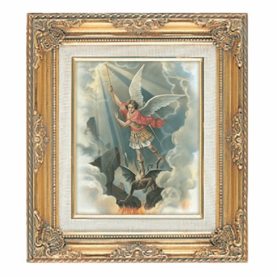 Saint Michael Archangel under Glass w/Gold Framed Picture by Cromo N B