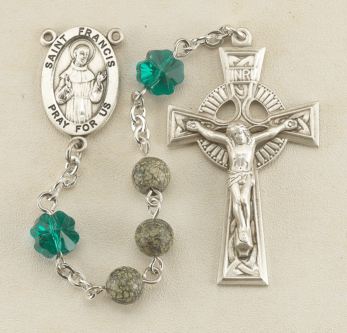 Saint Patrick Emerald Green Swarovski Crystal Prayer Rosary by HMH Religious