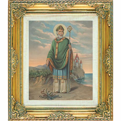 Saint Patrick under Glass w/Gold Framed Picture by Cromo N B Milan Italy