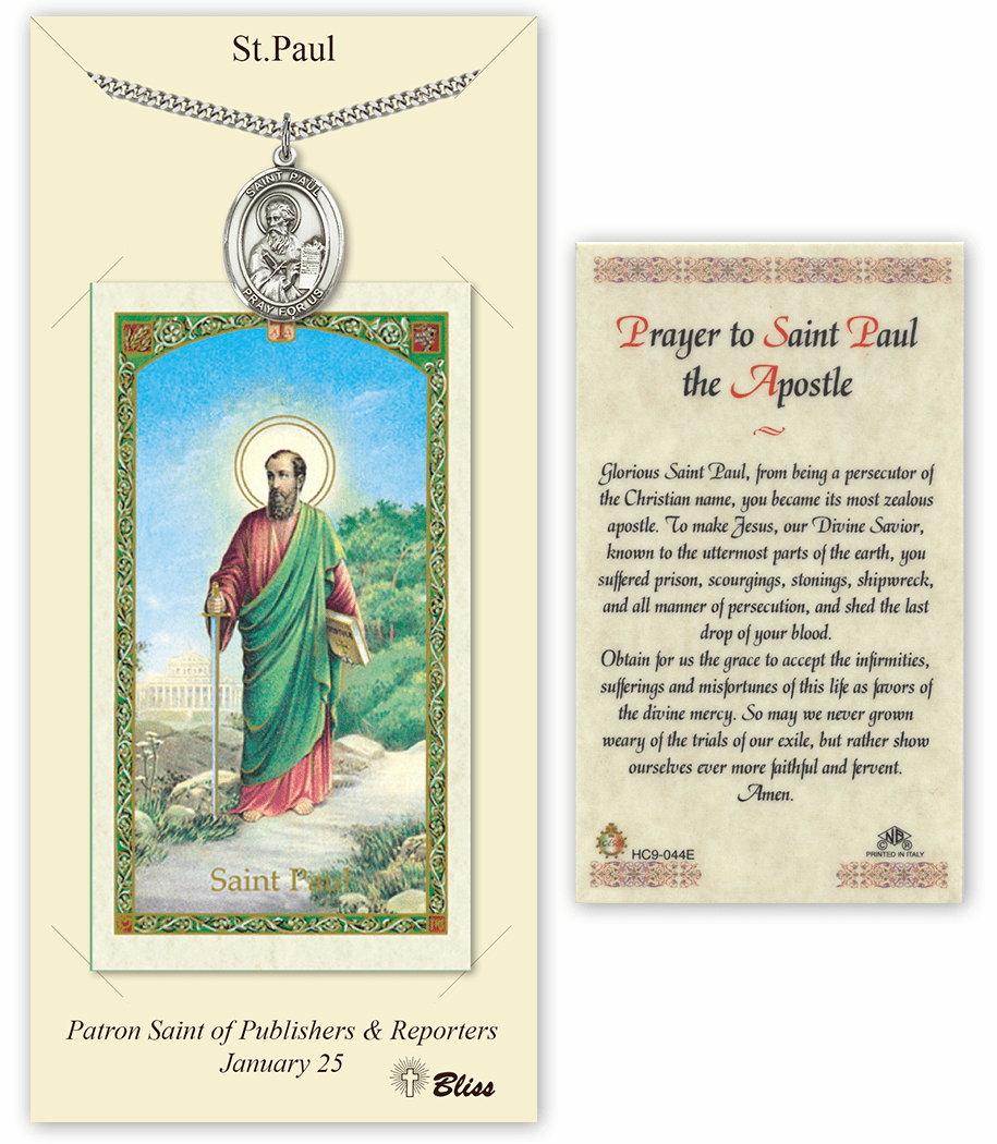 Saint Paul the Apostle Pendant and Holy Prayer Card Gift Set by Bliss