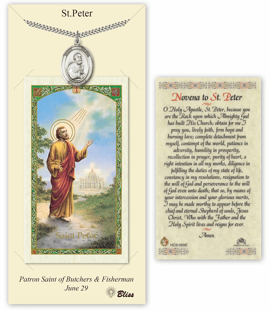 Saint Peter the Apostle Pendant and Holy Prayer Card Gift Set by Bliss