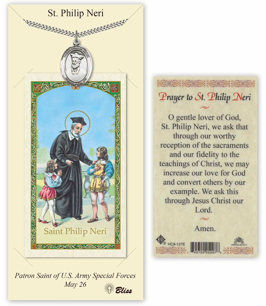 Saint Philip Neri Pendant and Holy Prayer Card Gift Set by Bliss