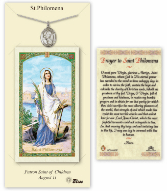 Saint Philomena Pendant and Holy Prayer Card Gift Set by Bliss