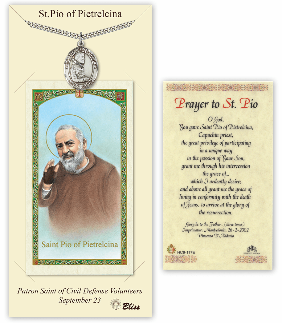 Saint Pio of Pietrelcina Pendant and Holy Prayer Card Gift Set by Bliss