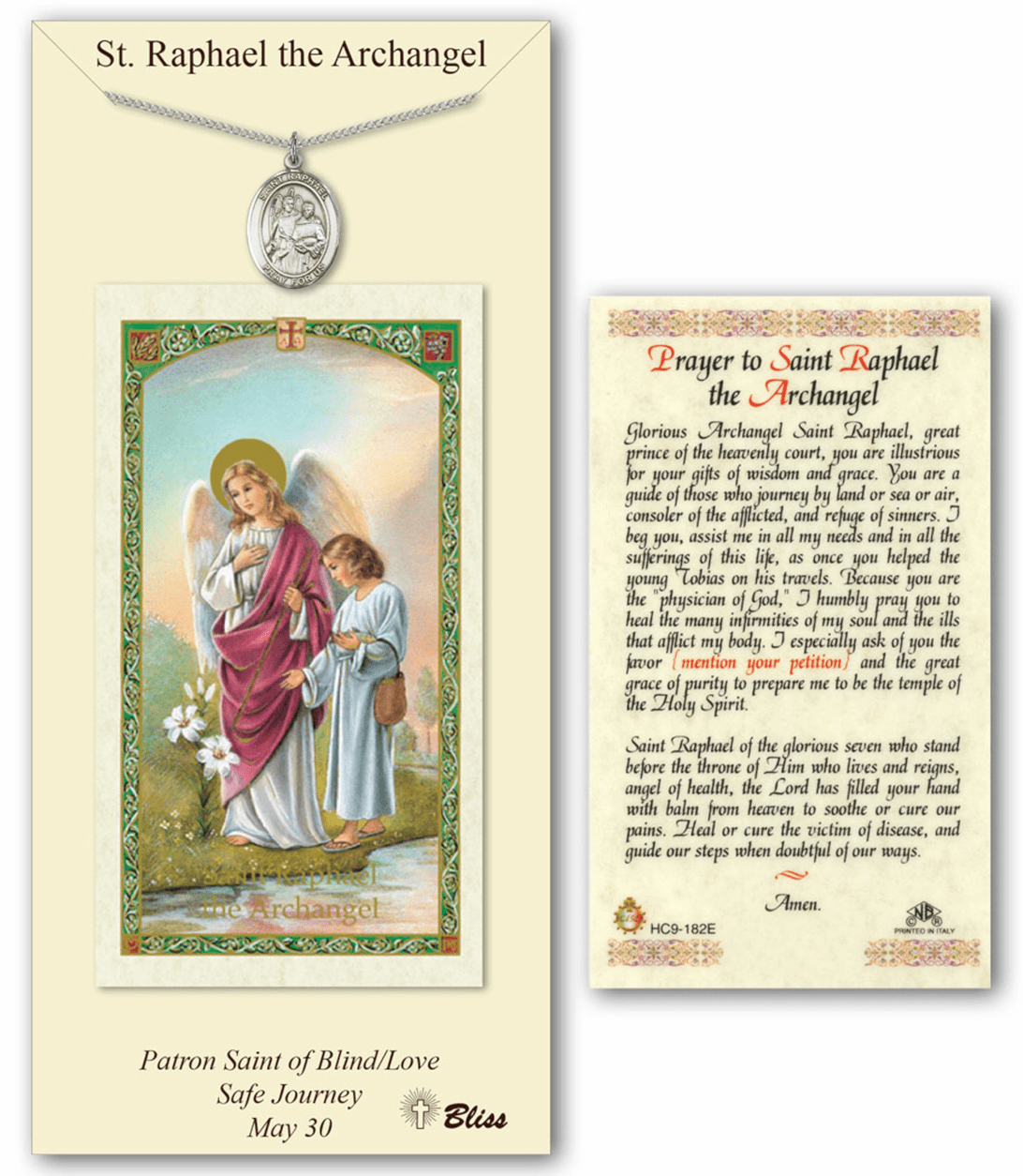 Saint Raphael the Archangel Pendant and Holy Prayer Card Gift Set by Bliss