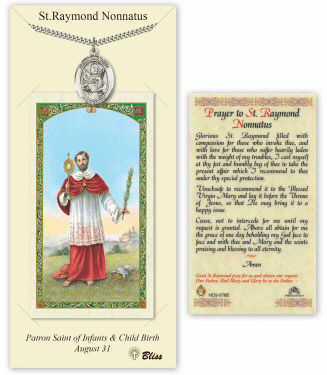 Saint Raymond Nonnatus Pendant and Holy Prayer Card Gift Set by Bliss