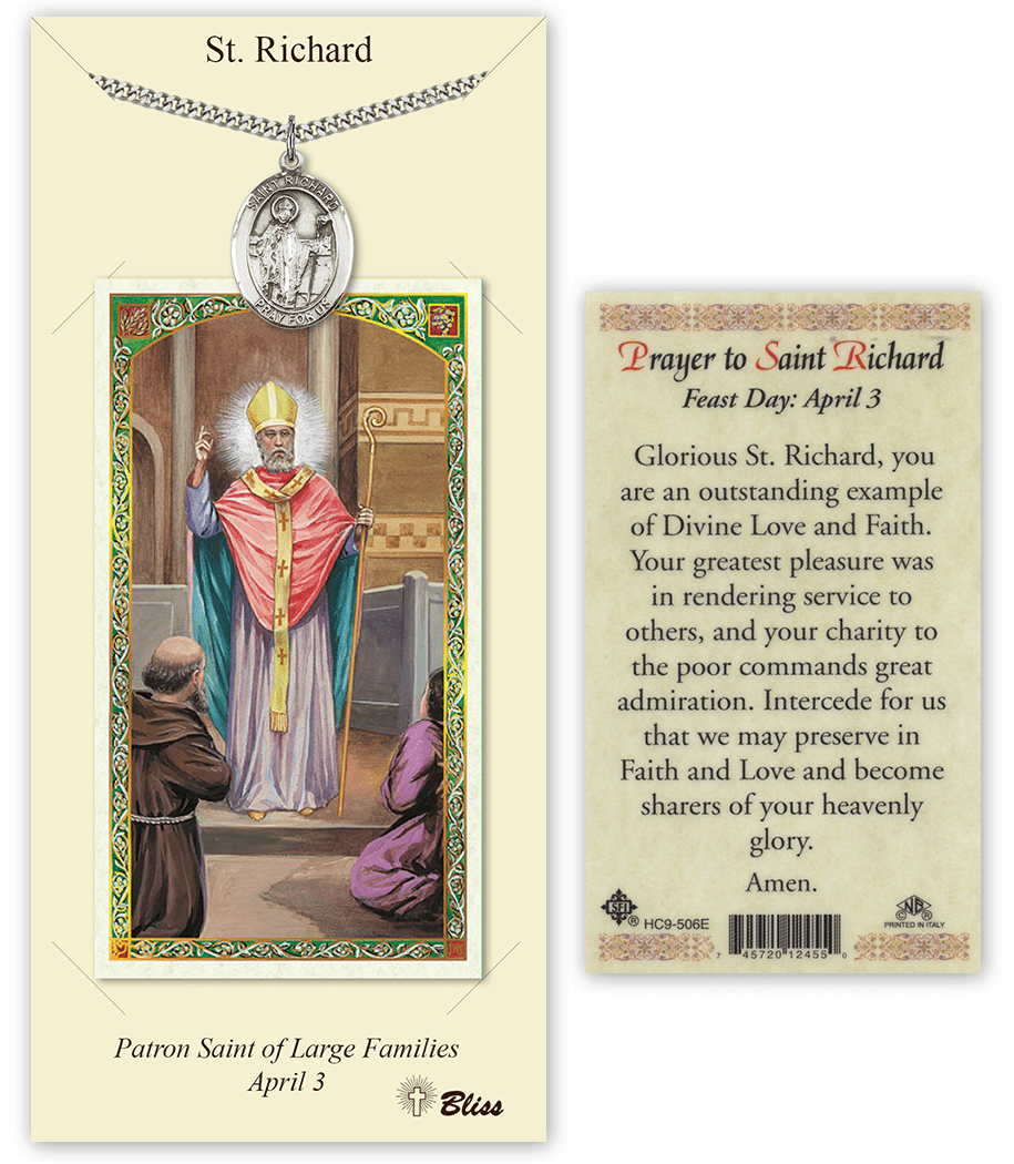 Saint Richard Pendant and Holy Prayer Card Gift Set by Bliss