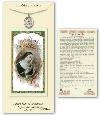 Saint Rita of Cascia Pendant and Holy Prayer Card Gift Set by Bliss