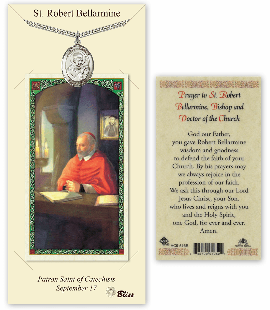 Saint Robert Bellarmine Pendant and Holy Prayer Card Gift Set by Bliss