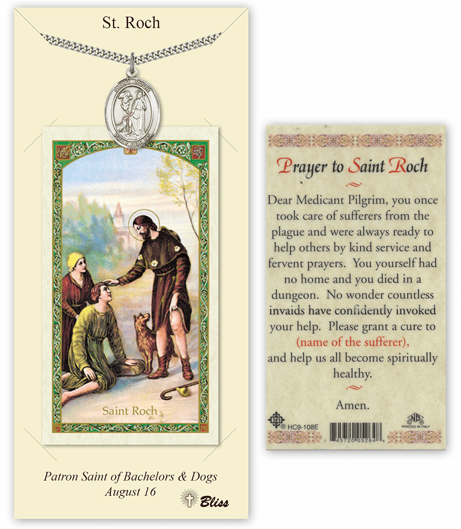 Saint Roch Pendant and Holy Prayer Card Gift Set by Bliss