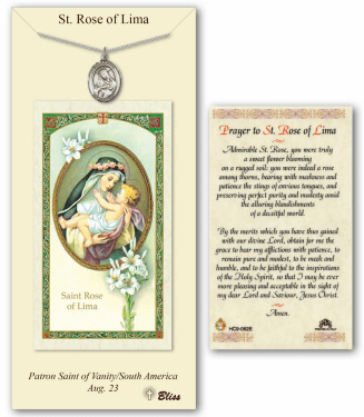 Saint Rose of Lima Pendant and Holy Prayer Card Gift Set by Bliss