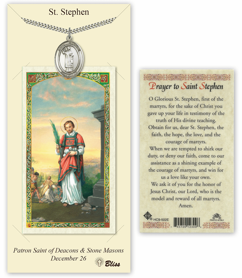 Saint Stephen the Martyr Pendant and Holy Prayer Card Gift Set by Bliss