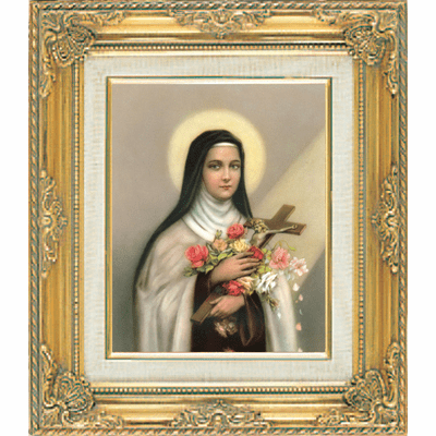 Saint Theresa under Glass w/Gold Framed Picture by Cromo N B Milan Italy