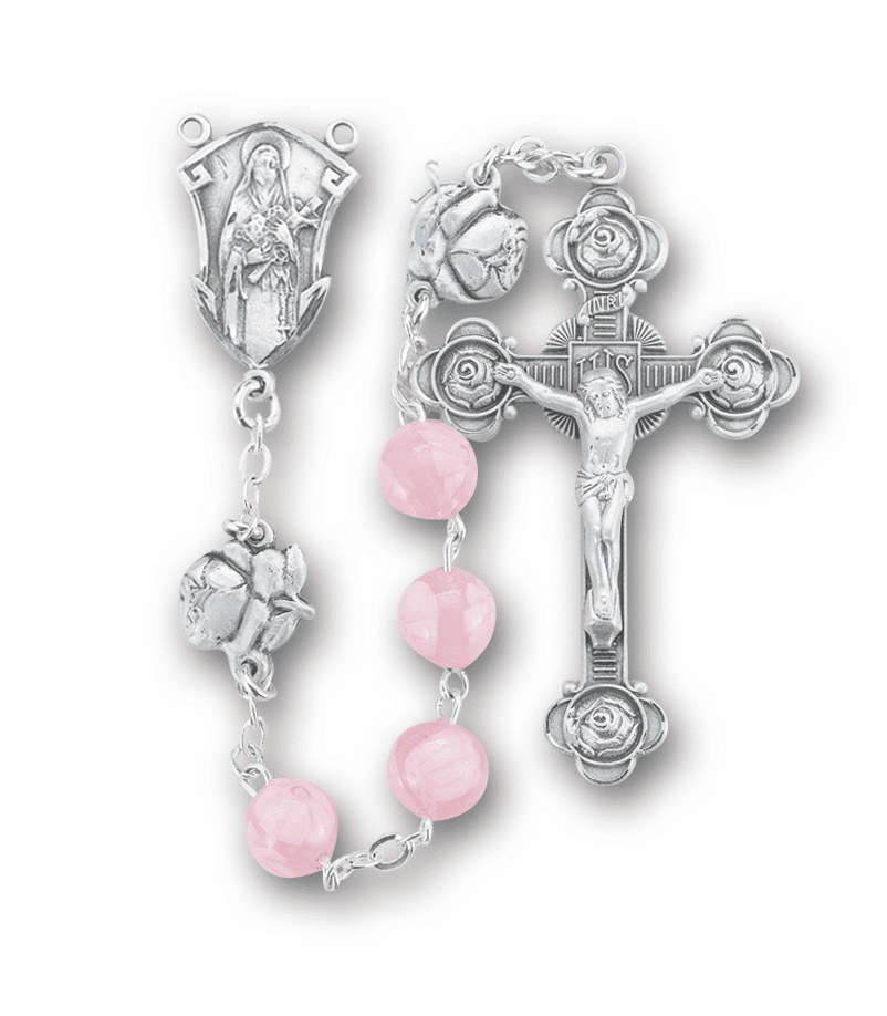 Saint Therese Rosebud Sterling Silver Venetian Glass Rosary by HMH Religious