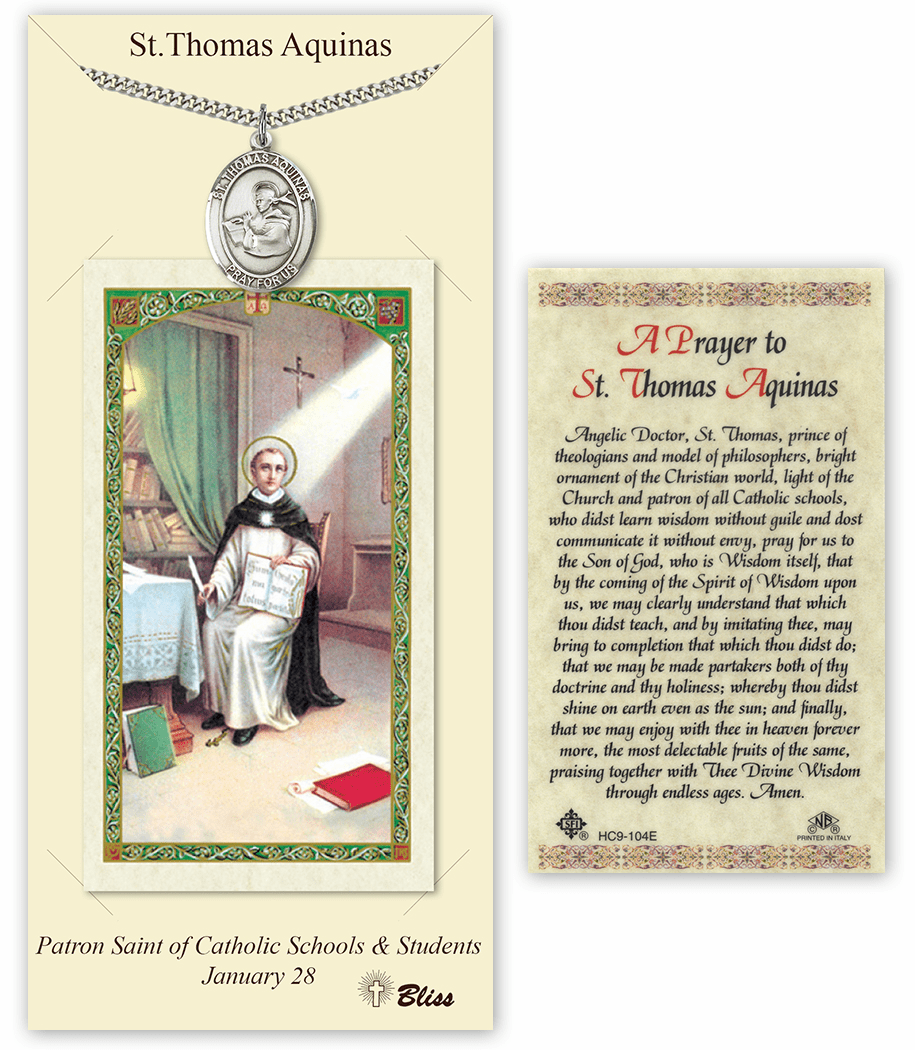 Saint Thomas Aquinas Pendant and Holy Prayer Card Gift Set by Bliss