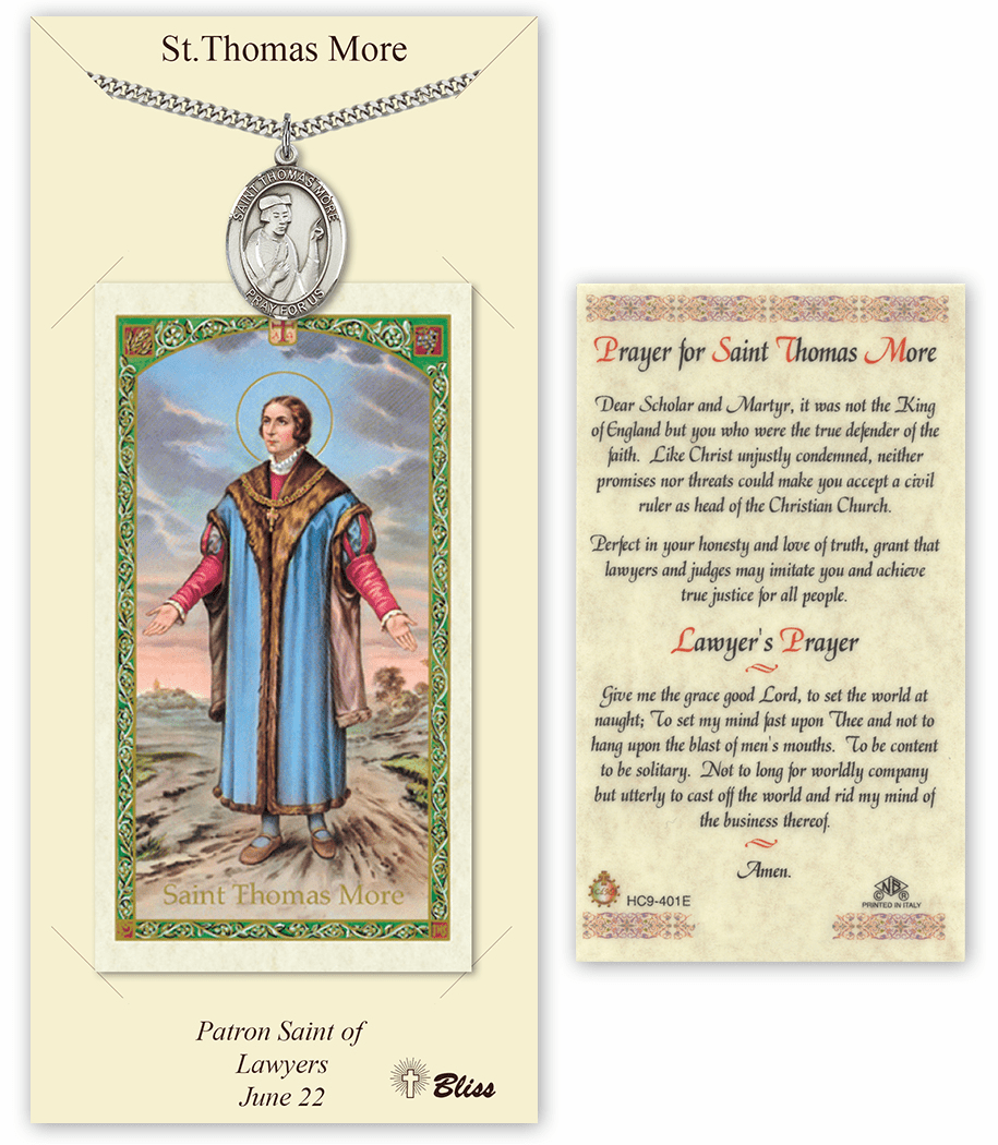 Saint Thomas More Pendant and Holy Prayer Card Gift Set by Bliss