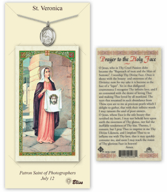Saint Veronica Pendant and Holy Prayer Card Gift Set by Bliss