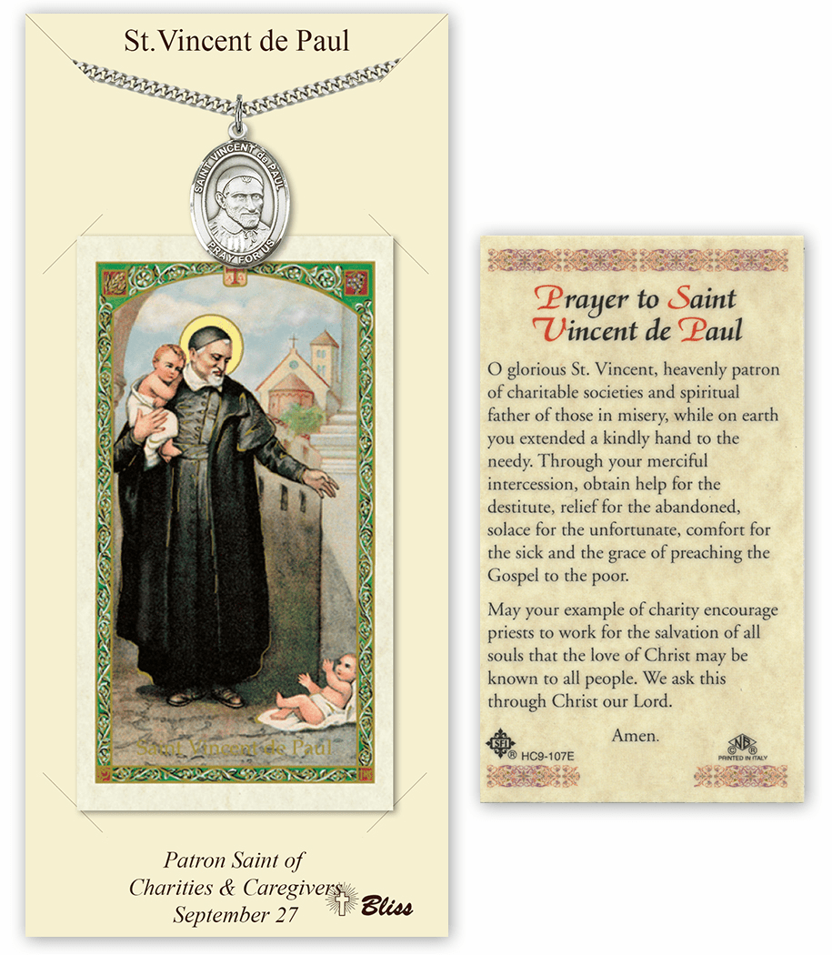 Saint Vincent de Paul Pendant and Holy Prayer Card Gift Set by Bliss