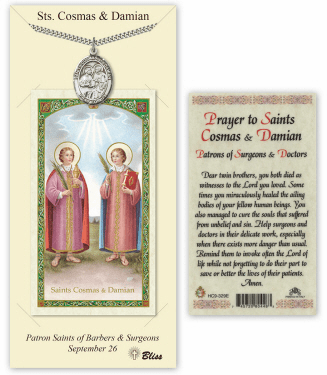 Saints Cosmas and Damian Pendant and Holy Prayer Card Gift Set by Bliss