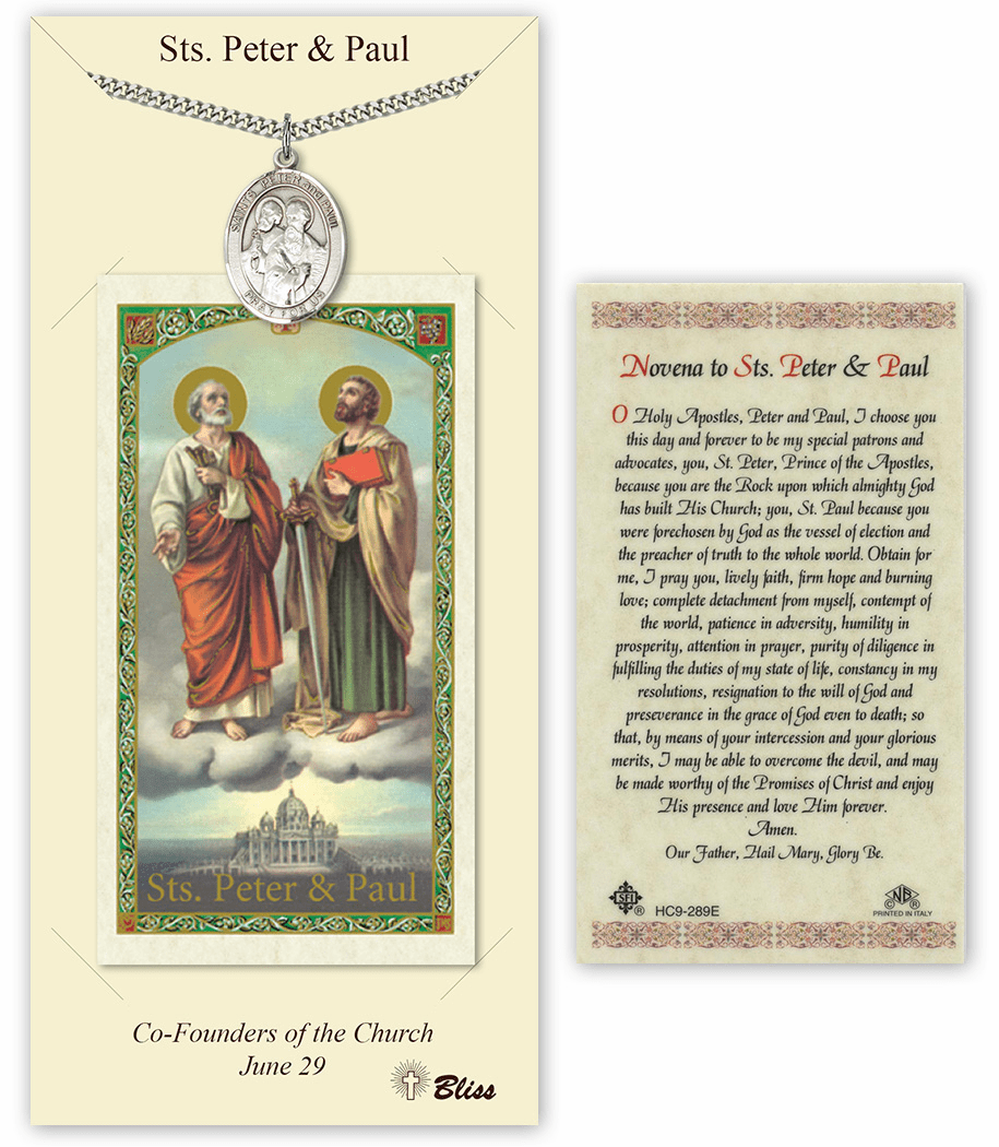 Saints Peter and Paul Pendant and Holy Prayer Card Gift Set by Bliss