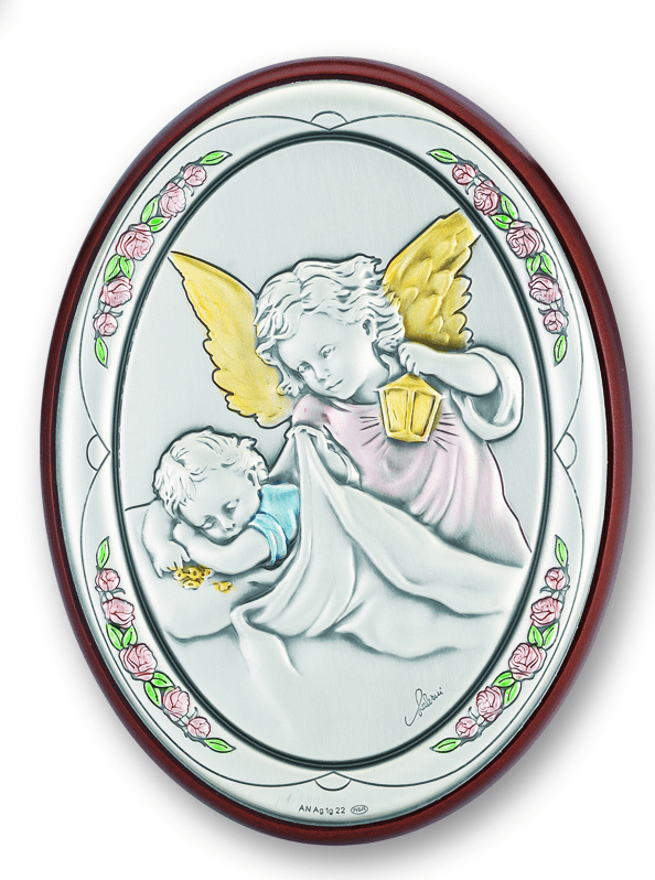 Salerni Guardian Angel with Lamp Watching over Baby Wall Plaque