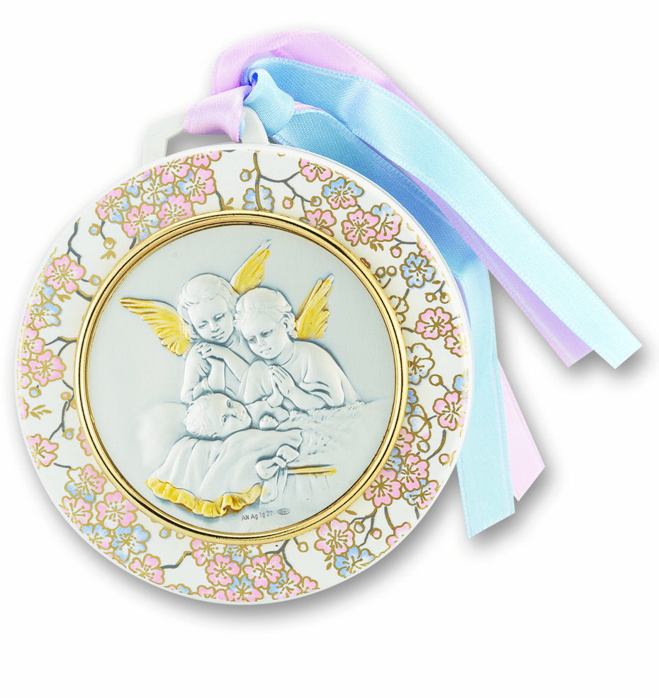 Salerni Silver Guardian Angels Praying over Baby Crib Medal