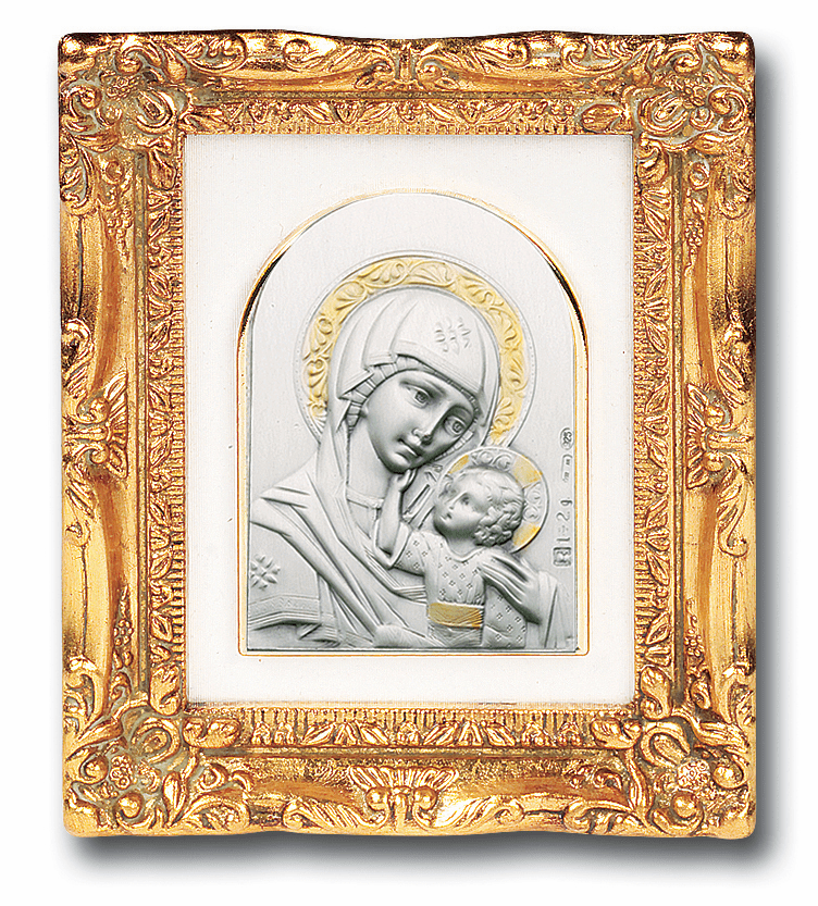 Salerni Silver Icon Madonna and Child with Antique Gold Frame